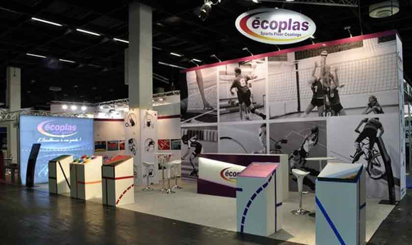 Stand écoplas au Salon International des Sols et Equipements Spotifs de Cologne, spécialiste du revêtement pour sols sportifs
